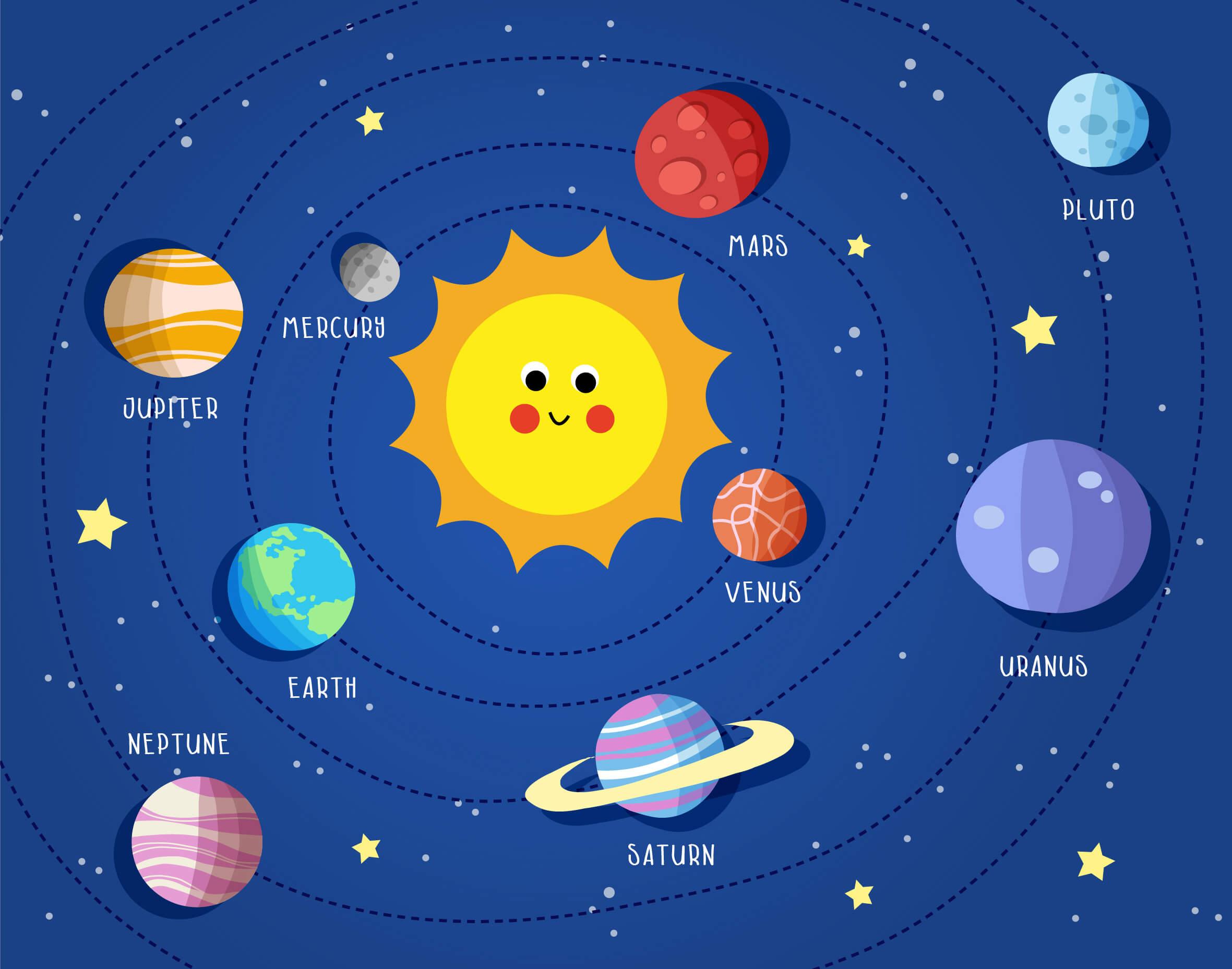 Infografik-Sonnensystem